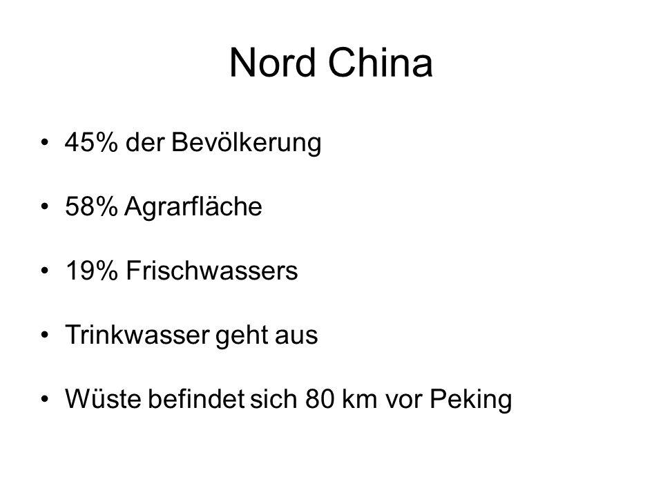 Nord China 45% der Bevölkerung 58% Agrarfläche 19% Frischwassers Trinkwasser geht aus Wüste befindet sich 80 km vor Peking