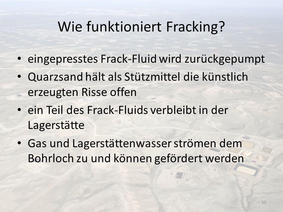 Wie funktioniert Fracking? eingepresstes Frack-Fluid wird zurückgepumpt Quarzsand hält als Stützmittel die künstlich erzeugten Risse offen ein Teil de