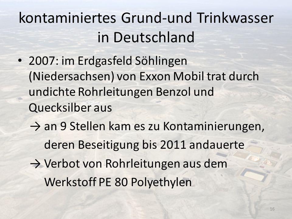 kontaminiertes Grund-und Trinkwasser in Deutschland 2007: im Erdgasfeld Söhlingen (Niedersachsen) von Exxon Mobil trat durch undichte Rohrleitungen Be