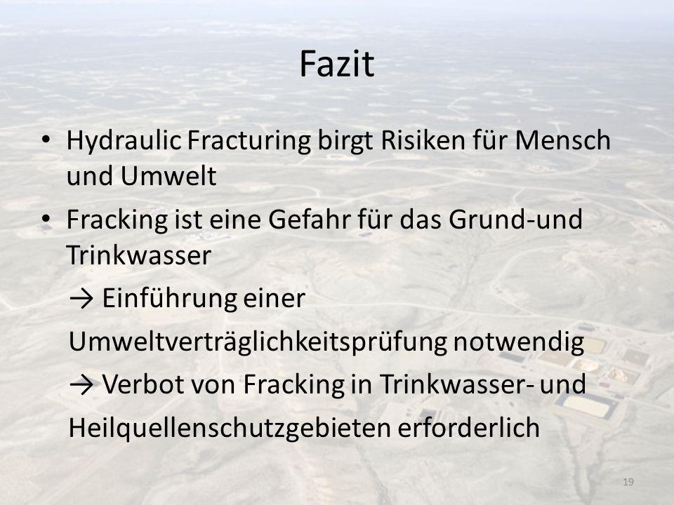Fazit Hydraulic Fracturing birgt Risiken für Mensch und Umwelt Fracking ist eine Gefahr für das Grund-und Trinkwasser Einführung einer Umweltverträgli