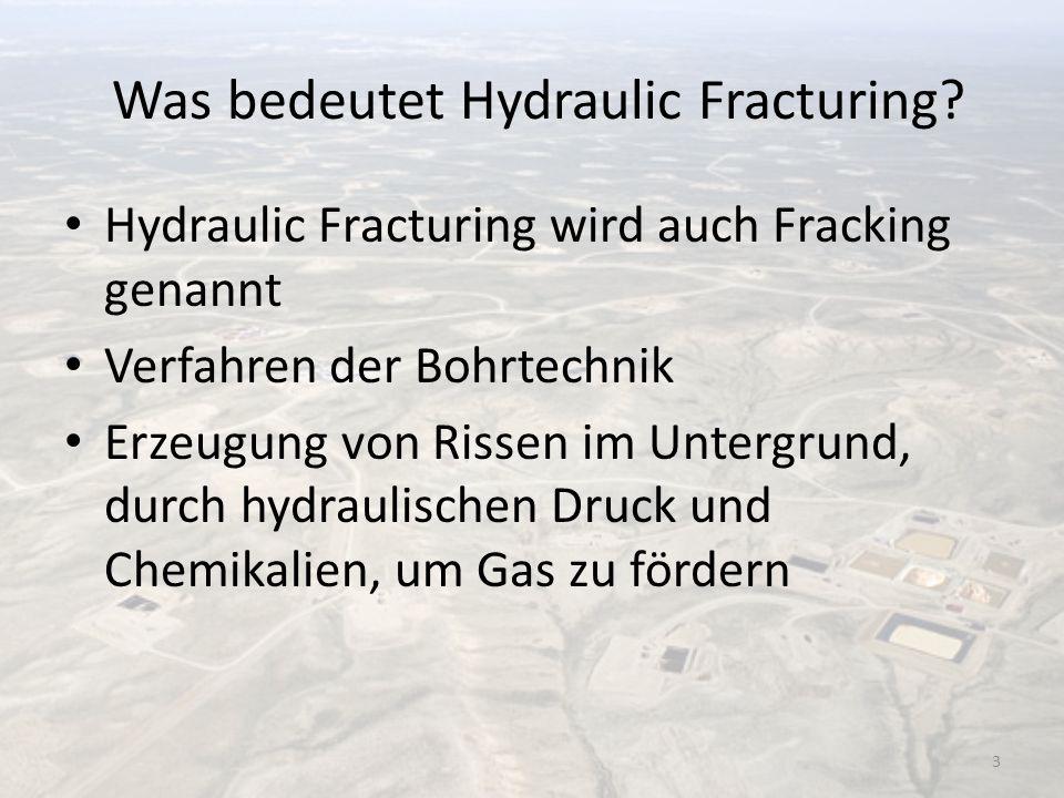 Was bedeutet Hydraulic Fracturing? Hydraulic Fracturing wird auch Fracking genannt Verfahren der Bohrtechnik Erzeugung von Rissen im Untergrund, durch