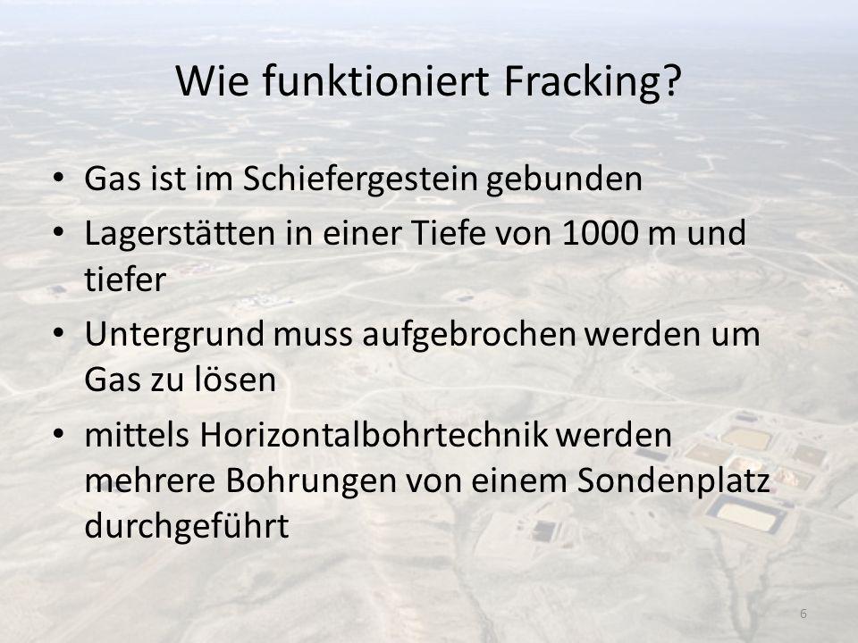 Wie funktioniert Fracking? Gas ist im Schiefergestein gebunden Lagerstätten in einer Tiefe von 1000 m und tiefer Untergrund muss aufgebrochen werden u