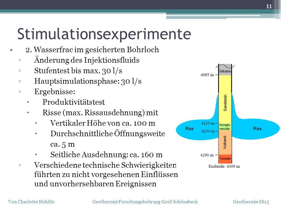 11 Von Charlotte Hoblitz Geothermie Forschungsbohrung Groß Schönebeck Geothermie SS13 2. Wasserfrac im gesicherten Bohrloch Änderung des Injektionsflu