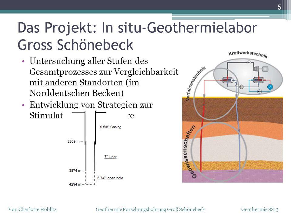 Untersuchung aller Stufen des Gesamtprozesses zur Vergleichbarkeit mit anderen Standorten (im Norddeutschen Becken) Entwicklung von Strategien zur Sti