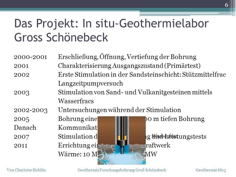 Das Projekt: In situ-Geothermielabor Gross Schönebeck 2000-2001 Erschließung, Öffnung, Vertiefung der Bohrung 2001 Charakterisierung Ausgangszustand (