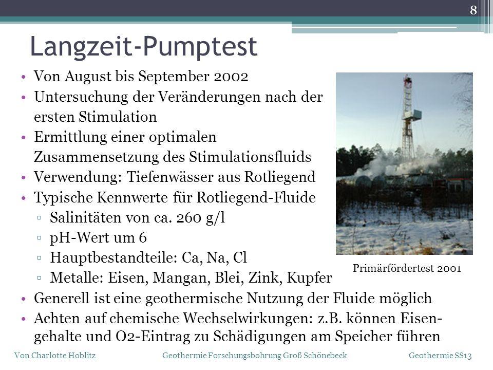 Langzeit-Pumptest 8 Von Charlotte Hoblitz Geothermie Forschungsbohrung Groß Schönebeck Geothermie SS13 Von August bis September 2002 Untersuchung der