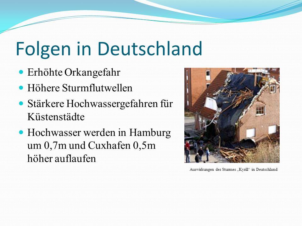 Folgen in Deutschland Erhöhte Orkangefahr Höhere Sturmflutwellen Stärkere Hochwassergefahren für Küstenstädte Hochwasser werden in Hamburg um 0,7m und Cuxhafen 0,5m höher auflaufen Auswirkungen des Sturmes Kyrill in Deutschland