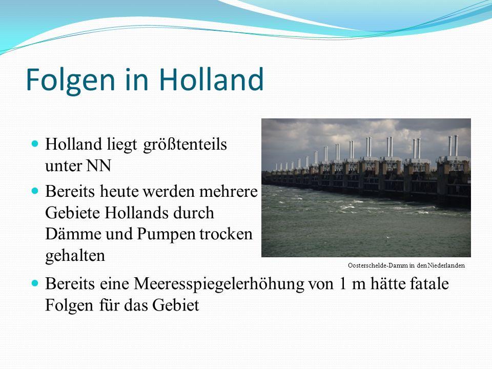 Folgen in Holland Holland liegt größtenteils unter NN Bereits heute werden mehrere Gebiete Hollands durch Dämme und Pumpen trocken gehalten Bereits eine Meeresspiegelerhöhung von 1 m hätte fatale Folgen für das Gebiet Oosterschelde-Damm in den Niederlanden