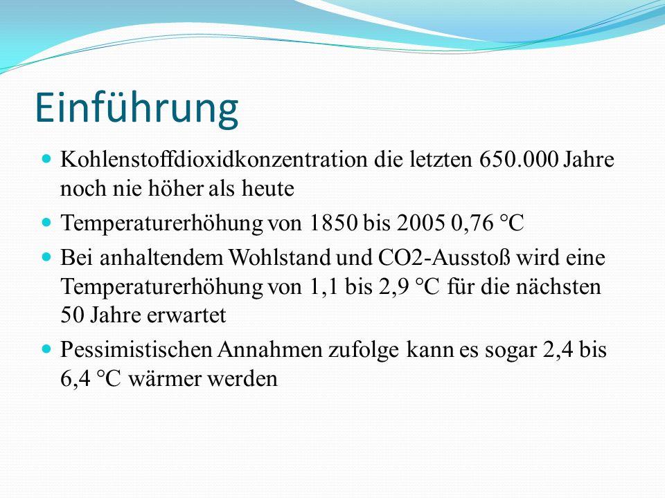 Einführung Kohlenstoffdioxidkonzentration die letzten 650.000 Jahre noch nie höher als heute Temperaturerhöhung von 1850 bis 2005 0,76 °C Bei anhaltendem Wohlstand und CO2-Ausstoß wird eine Temperaturerhöhung von 1,1 bis 2,9 °C für die nächsten 50 Jahre erwartet Pessimistischen Annahmen zufolge kann es sogar 2,4 bis 6,4 °C wärmer werden