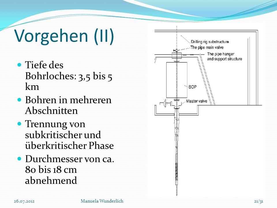Vorgehen (II) Tiefe des Bohrloches: 3,5 bis 5 km Bohren in mehreren Abschnitten Trennung von subkritischer und überkritischer Phase Durchmesser von ca