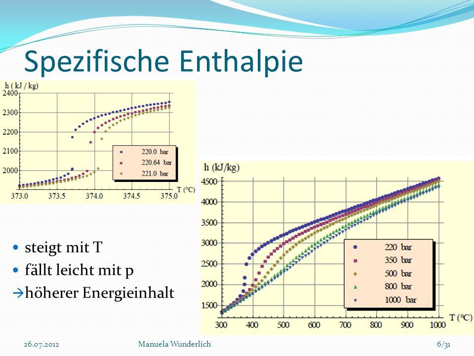 Vorteile durch Nutzung überkritischer Fluide Höherer Energieinhalt Höherer Massenstrom durch höheren Druck Zehnmal höherer Ertrag möglich im Vergleich zu herkömmlichen geothermischen Systemen Durch Tiefenbohrung weniger Flächenverbrauch 26.07.2012Manuela Wunderlich27/31