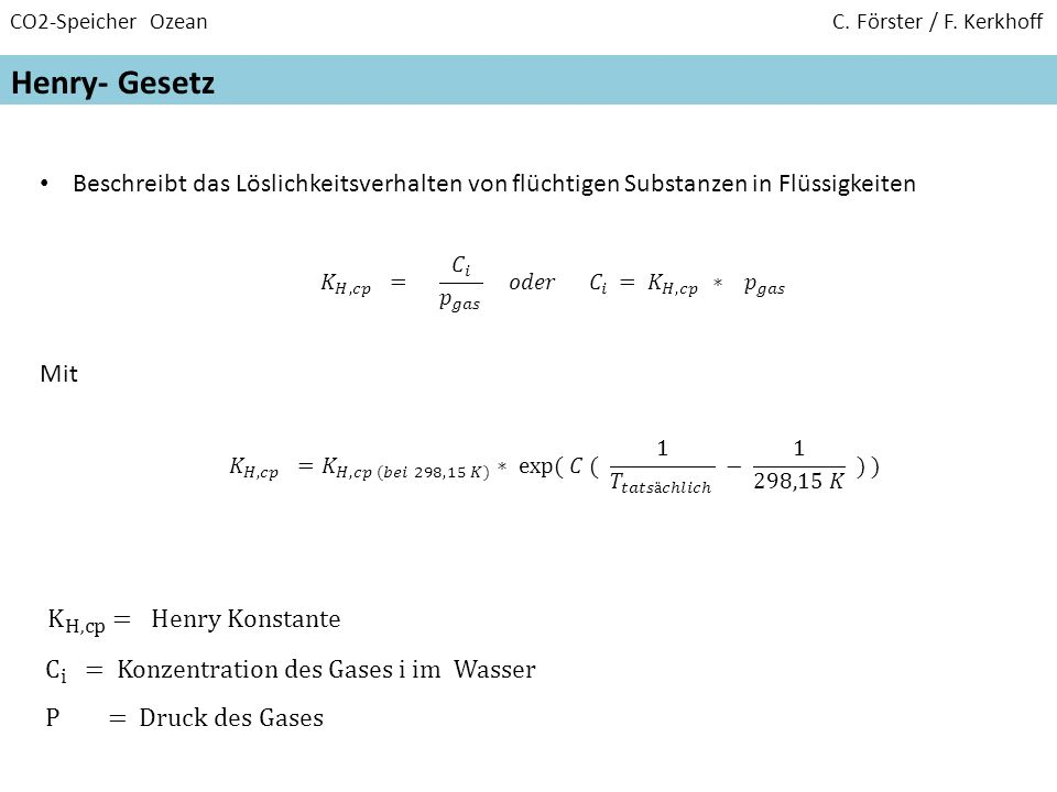 CO2-Speicher Ozean C. Förster / F. Kerkhoff Henry- Gesetz