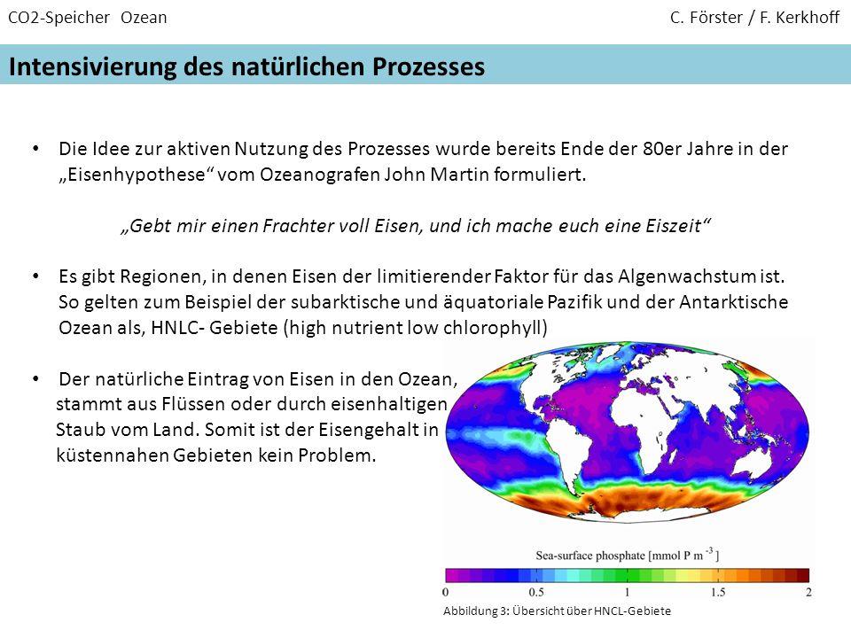 CO2-Speicher Ozean C. Förster / F. Kerkhoff Intensivierung des natürlichen Prozesses Die Idee zur aktiven Nutzung des Prozesses wurde bereits Ende der