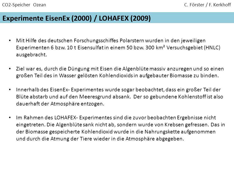CO2-Speicher Ozean C. Förster / F. Kerkhoff Experimente EisenEx (2000) / LOHAFEX (2009) Mit Hilfe des deutschen Forschungsschiffes Polarstern wurden i