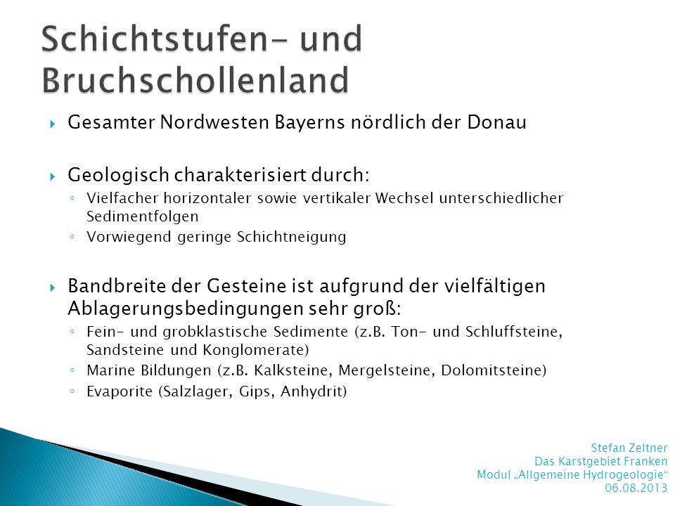 Gesamter Nordwesten Bayerns nördlich der Donau Geologisch charakterisiert durch: Vielfacher horizontaler sowie vertikaler Wechsel unterschiedlicher Se