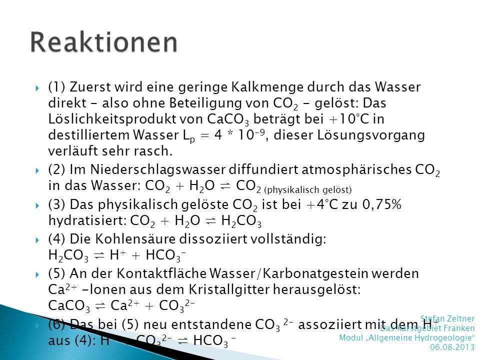 (1) Zuerst wird eine geringe Kalkmenge durch das Wasser direkt - also ohne Beteiligung von CO 2 - gelöst: Das Löslichkeitsprodukt von CaCO 3 beträgt b