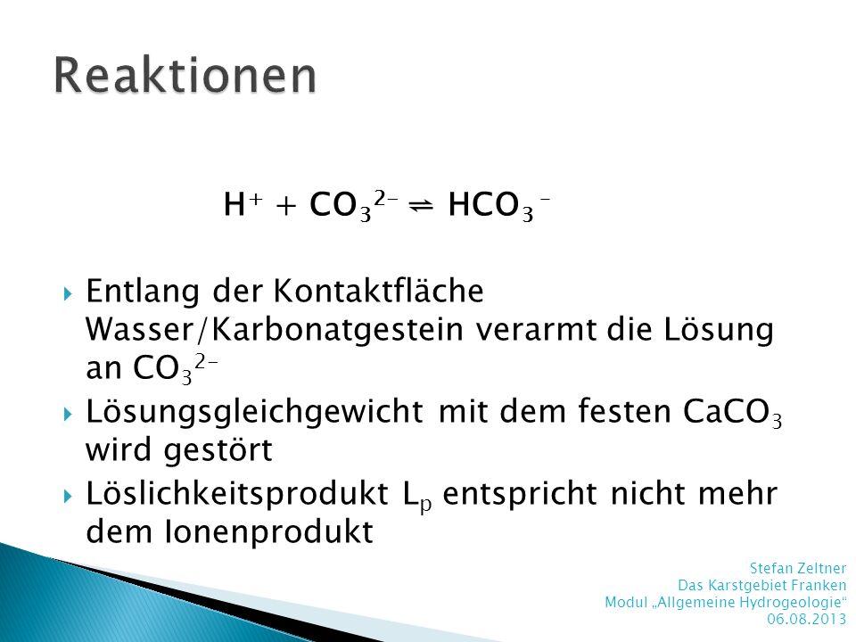 H + + CO 3 2- HCO 3 – Entlang der Kontaktfläche Wasser/Karbonatgestein verarmt die Lösung an CO 3 2- Lösungsgleichgewicht mit dem festen CaCO 3 wird g