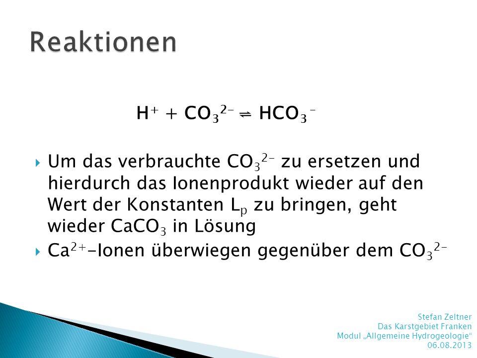 H + + CO 3 2- HCO 3 – Um das verbrauchte CO 3 2- zu ersetzen und hierdurch das Ionenprodukt wieder auf den Wert der Konstanten L p zu bringen, geht wi