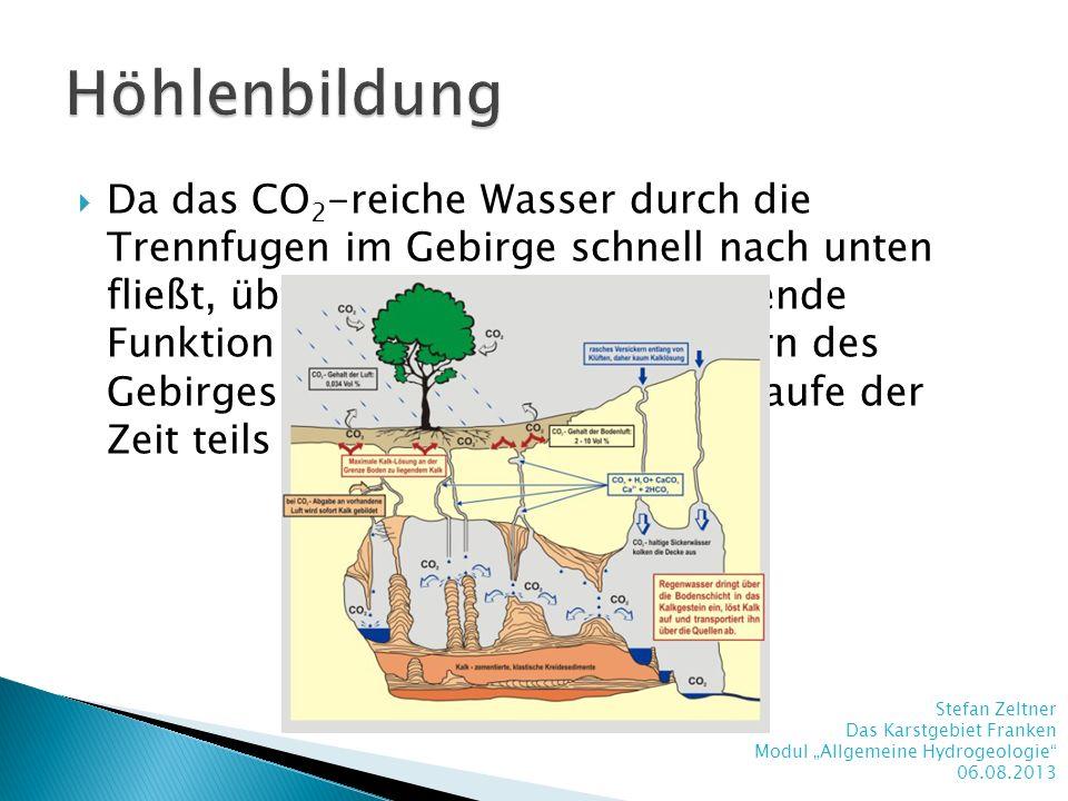 Da das CO 2 -reiche Wasser durch die Trennfugen im Gebirge schnell nach unten fließt, übt es seine gesteinsauflösende Funktion besonders stark im Inne