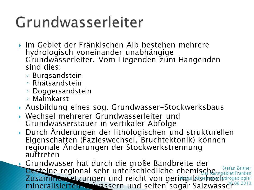 Im Gebiet der Fränkischen Alb bestehen mehrere hydrologisch voneinander unabhängige Grundwasserleiter. Vom Liegenden zum Hangenden sind dies: Burgsand