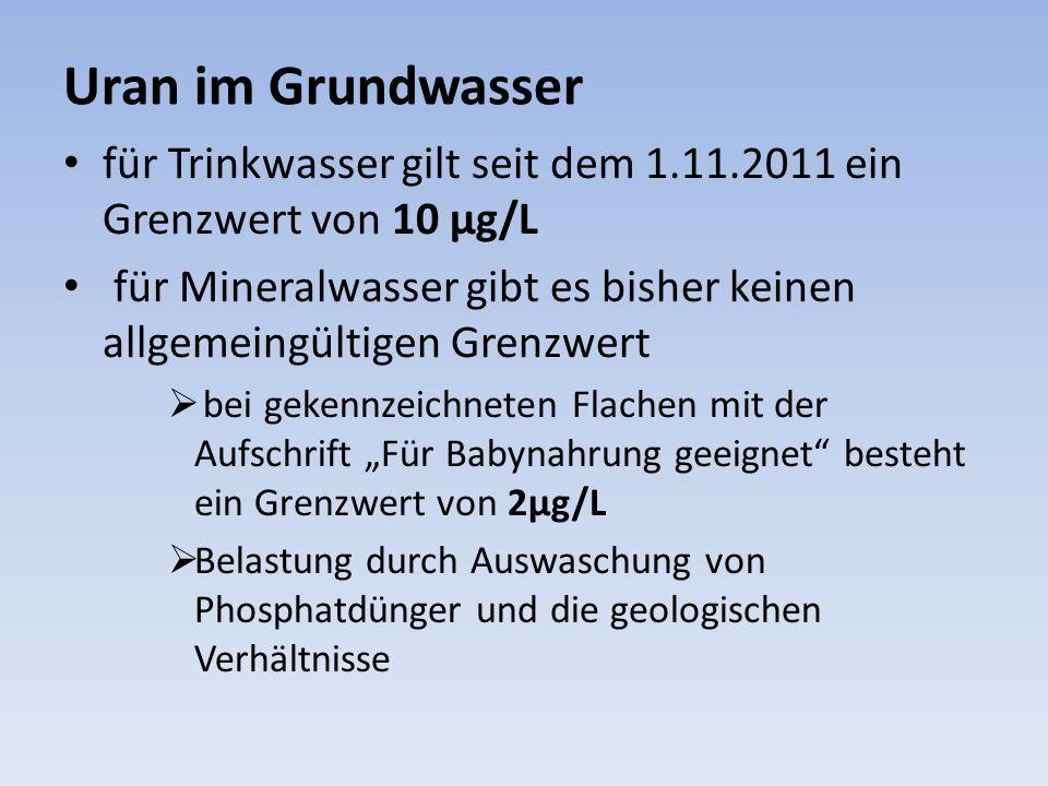 Uran im Grundwasser für Trinkwasser gilt seit dem 1.11.2011 ein Grenzwert von 10 µg/L für Mineralwasser gibt es bisher keinen allgemeingültigen Grenzw