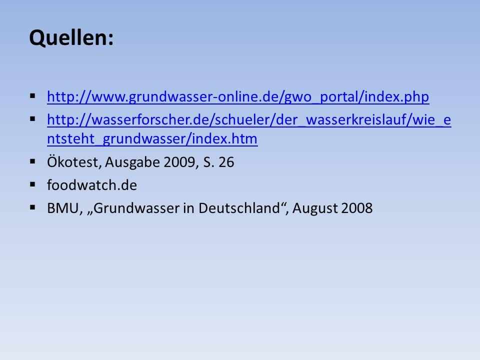 Quellen: http://www.grundwasser-online.de/gwo_portal/index.php http://wasserforscher.de/schueler/der_wasserkreislauf/wie_e ntsteht_grundwasser/index.h