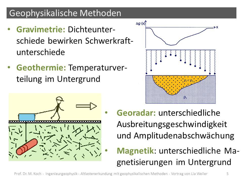 Geophysikalische Methoden zur Altlastenerkundung häufige Nutzung, da – Zerstörungsfrei – Kostengünstig nachteilig – Messungen mittelbar über physikalische Größen – ggf.