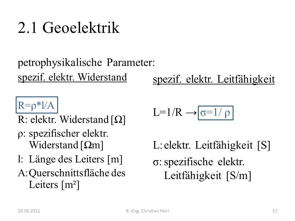 2.1 Geoelektrik petrophysikalische Parameter: spezif.