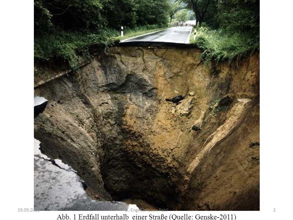 Abb. 1 Erdfall unterhalb einer Straße (Quelle: Genske-2011) 19.09.20122B.-Eng. Christian Petri