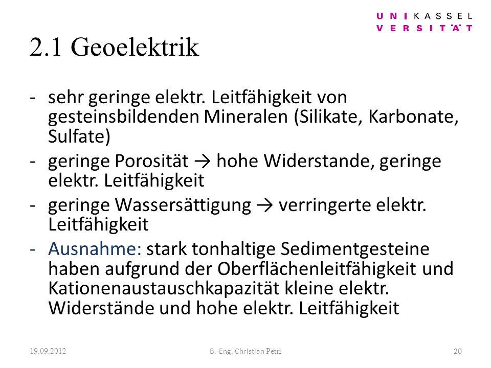 2.1 Geoelektrik -sehr geringe elektr.