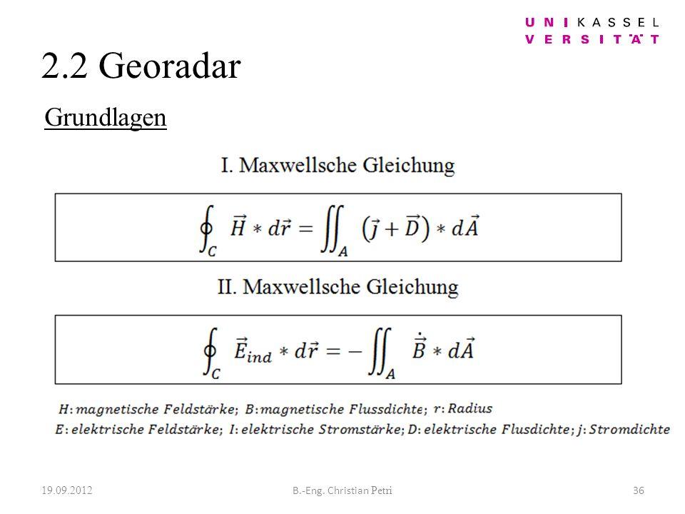 2.2 Georadar 19.09.2012 36B.-Eng. Christian Petri Grundlagen