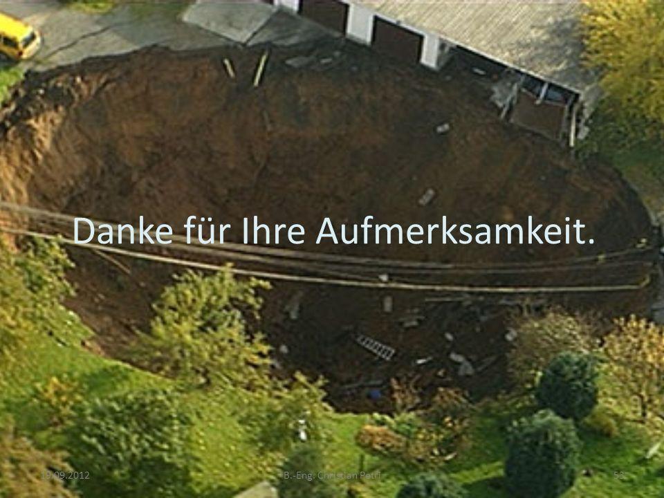 Danke für Ihre Aufmerksamkeit. 19.09.2012B.-Eng. Christian Petri53