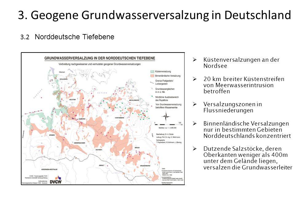 3.2 Norddeutsche Tiefebene 3. Geogene Grundwasserversalzung in Deutschland Küstenversalzungen an der Nordsee 20 km breiter Küstenstreifen von Meerwass