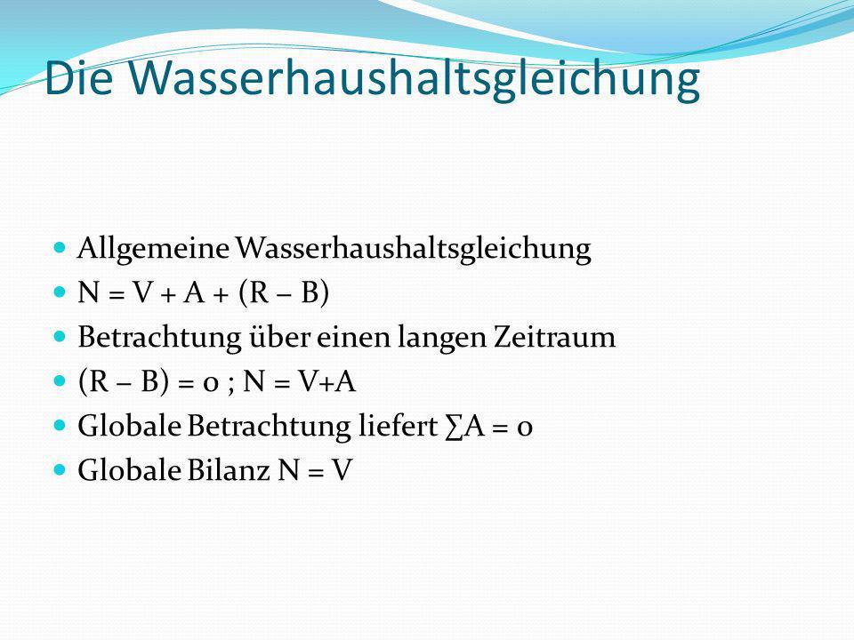 Die Wasserhaushaltsgleichung Allgemeine Wasserhaushaltsgleichung N = V + A + (R B) Betrachtung über einen langen Zeitraum (R B) = 0 ; N = V+A Globale