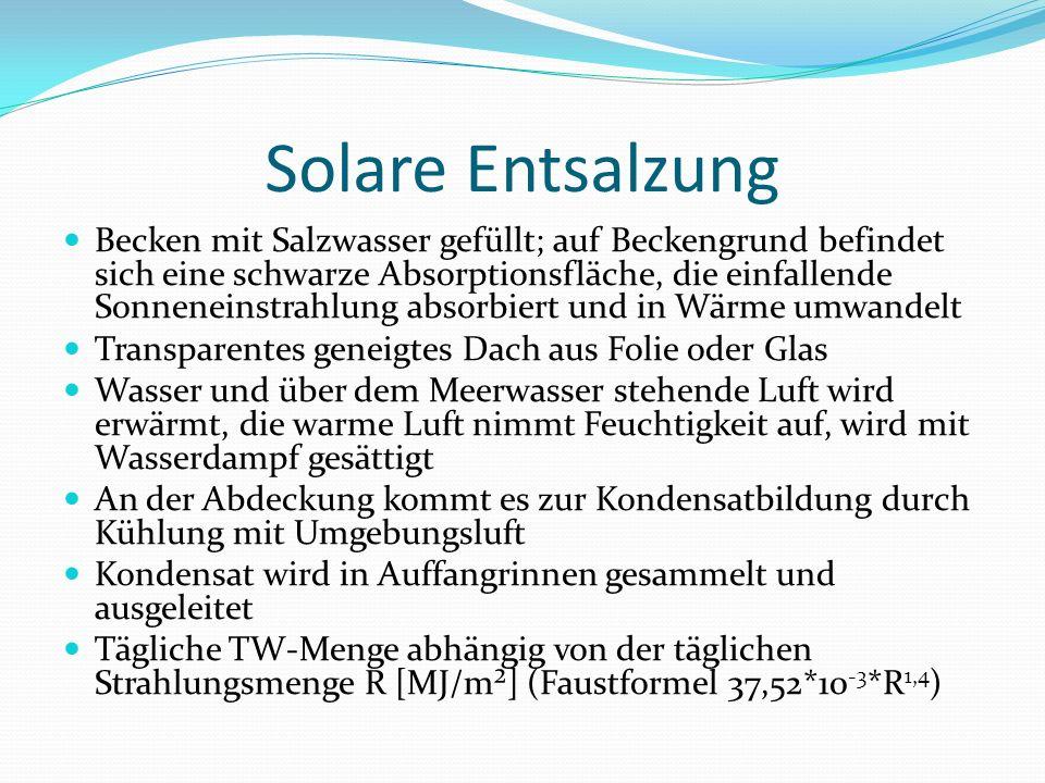Becken mit Salzwasser gefüllt; auf Beckengrund befindet sich eine schwarze Absorptionsfläche, die einfallende Sonneneinstrahlung absorbiert und in Wär