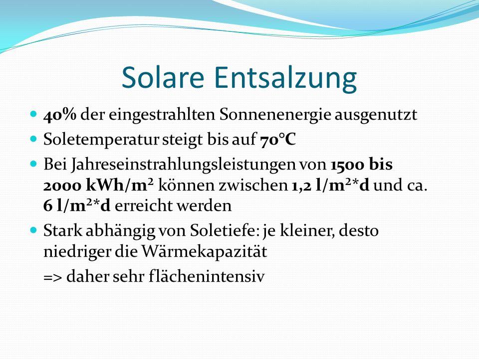 Solare Entsalzung 40% der eingestrahlten Sonnenenergie ausgenutzt Soletemperatur steigt bis auf 70°C Bei Jahreseinstrahlungsleistungen von 1500 bis 2000 kWh/m² können zwischen 1,2 l/m²*d und ca.