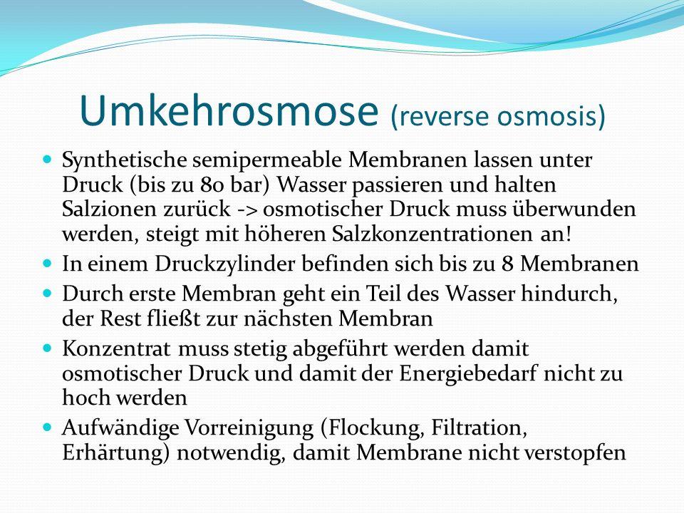 Synthetische semipermeable Membranen lassen unter Druck (bis zu 80 bar) Wasser passieren und halten Salzionen zurück -> osmotischer Druck muss überwun
