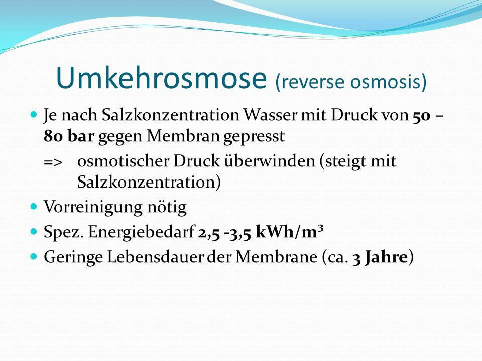 Umkehrosmose (reverse osmosis) Je nach Salzkonzentration Wasser mit Druck von 50 – 80 bar gegen Membran gepresst => osmotischer Druck überwinden (steigt mit Salzkonzentration) Vorreinigung nötig Spez.