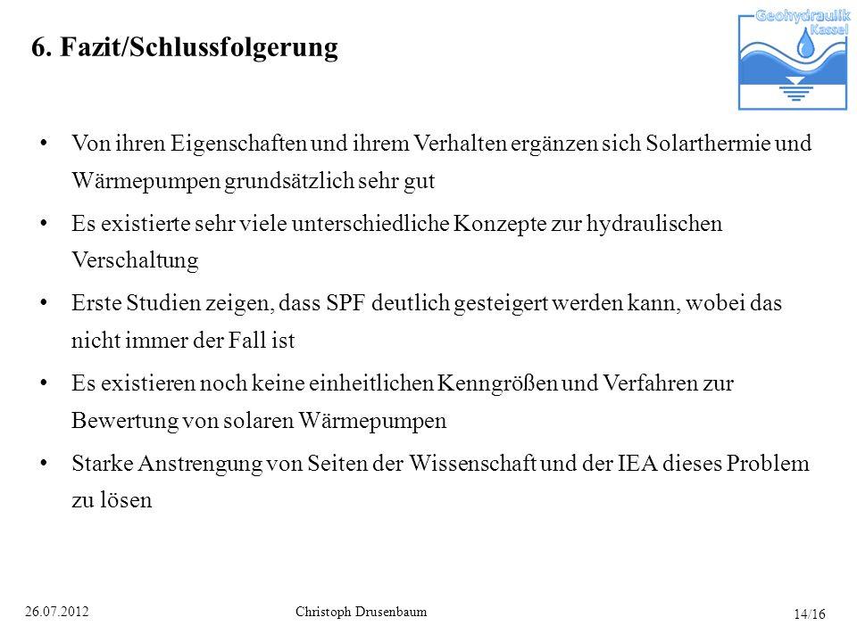 Christoph Drusenbaum26.07.2012 6. Fazit/Schlussfolgerung Von ihren Eigenschaften und ihrem Verhalten ergänzen sich Solarthermie und Wärmepumpen grunds