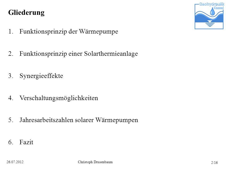 Christoph Drusenbaum26.07.2012 Gliederung 1.Funktionsprinzip der Wärmepumpe 2.Funktionsprinzip einer Solarthermieanlage 3.Synergieeffekte 4.Verschaltu