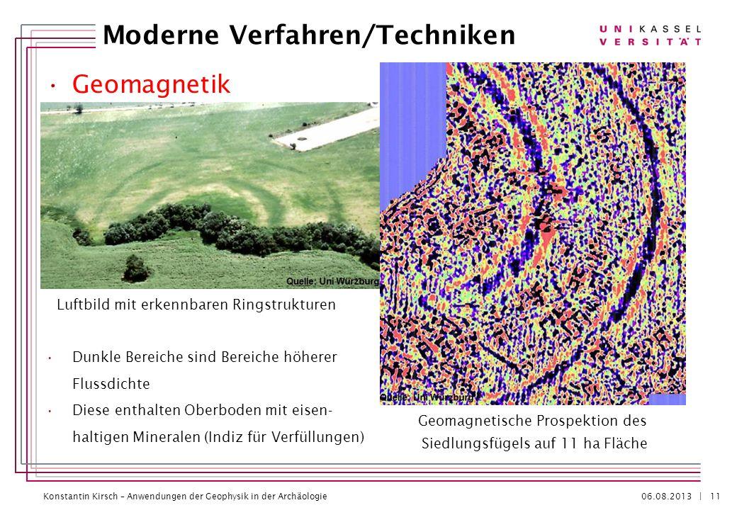 Konstantin Kirsch – Anwendungen der Geophysik in der Archäologie 06.08.2013 | Geomagnetik Dunkle Bereiche sind Bereiche höherer Flussdichte Diese enth