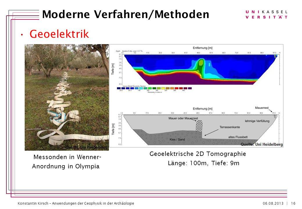 Konstantin Kirsch – Anwendungen der Geophysik in der Archäologie 06.08.2013 | Geoelektrik Moderne Verfahren/Methoden 16 Messonden in Wenner- Anordnung
