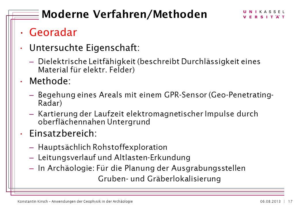 Konstantin Kirsch – Anwendungen der Geophysik in der Archäologie 06.08.2013 | Georadar Untersuchte Eigenschaft: – Dielektrische Leitfähigkeit (beschre
