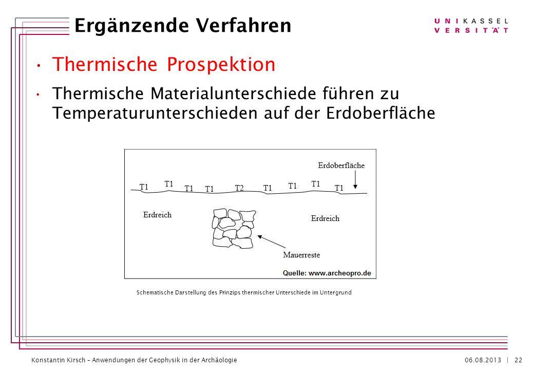 Konstantin Kirsch – Anwendungen der Geophysik in der Archäologie 06.08.2013 | Thermische Prospektion Thermische Materialunterschiede führen zu Tempera