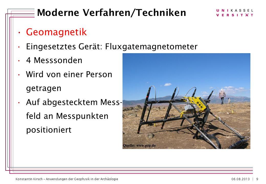 Konstantin Kirsch – Anwendungen der Geophysik in der Archäologie 06.08.2013 | Geomagnetik Eingesetztes Gerät: Fluxgatemagnetometer 4 Messsonden Wird v