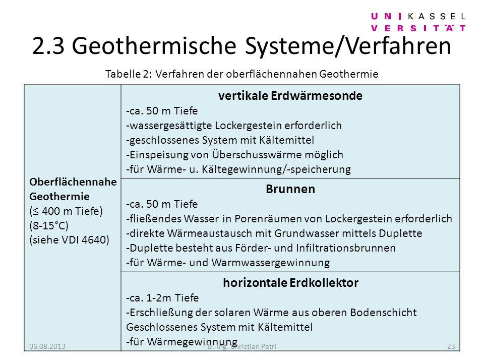 2.3 Geothermische Systeme/Verfahren Oberflächennahe Geothermie ( 400 m Tiefe) (8-15°C) (siehe VDI 4640) vertikale Erdwärmesonde -ca.