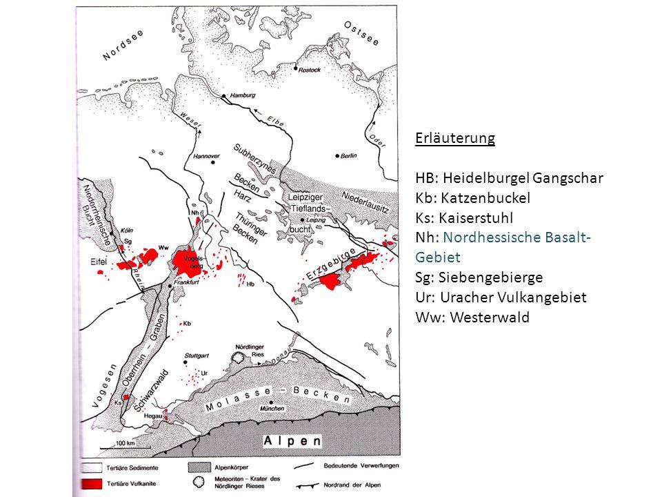 Erläuterung HB: Heidelburgel Gangschar Kb: Katzenbuckel Ks: Kaiserstuhl Nh: Nordhessische Basalt- Gebiet Sg: Siebengebierge Ur: Uracher Vulkangebiet Ww: Westerwald