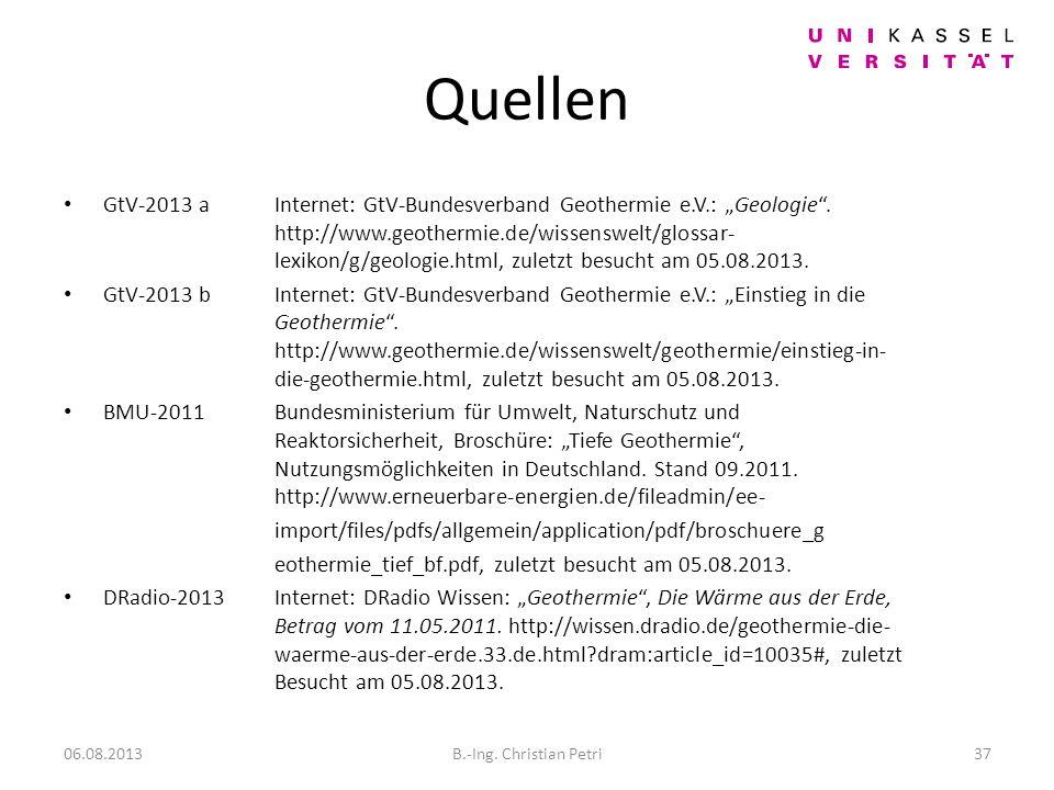 Quellen GtV-2013 a Internet: GtV-Bundesverband Geothermie e.V.: Geologie.