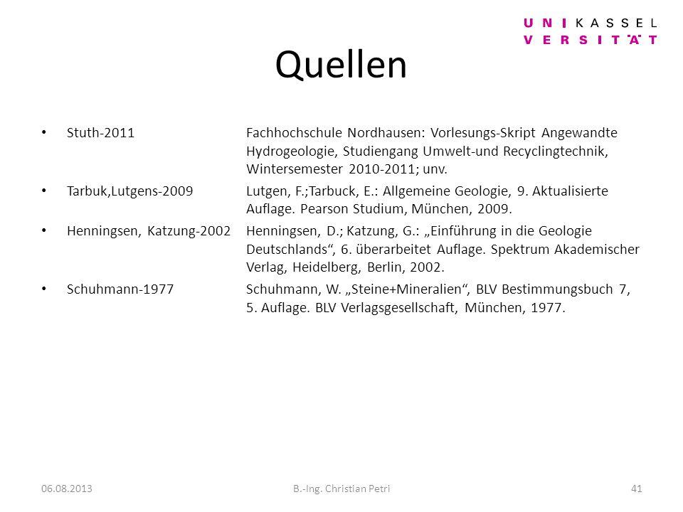 Quellen Stuth-2011Fachhochschule Nordhausen: Vorlesungs-Skript Angewandte Hydrogeologie, Studiengang Umwelt-und Recyclingtechnik, Wintersemester 2010-2011; unv.