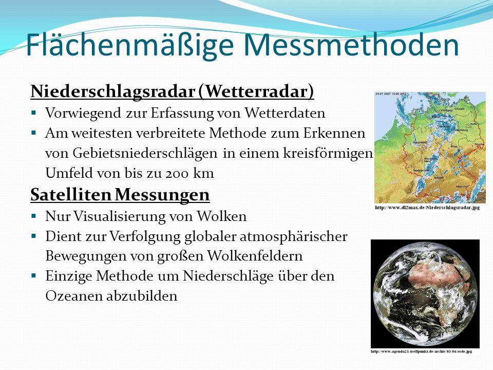 Flächenmäßige Messmethoden Niederschlagsradar (Wetterradar) Vorwiegend zur Erfassung von Wetterdaten Am weitesten verbreitete Methode zum Erkennen von